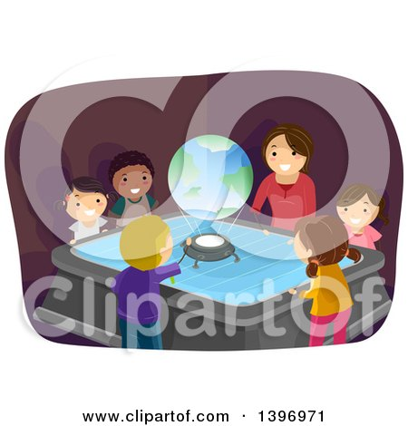 Clipart of a Group of Students Watching a Globe Hologram in Class - Royalty Free Vector Illustration by BNP Design Studio