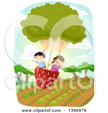 Clipart of a Group of Students Flying in a Strawberry and Lettuce Balloon over a Crop - Royalty Free Vector Illustration by BNP Design Studio