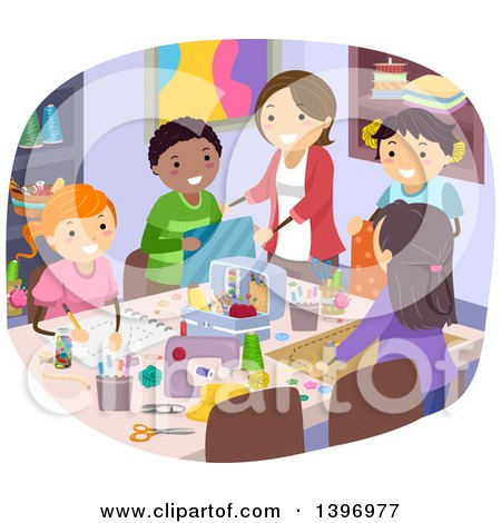 Clipart Home Economics Teacher Topping A Pizza With A Boy