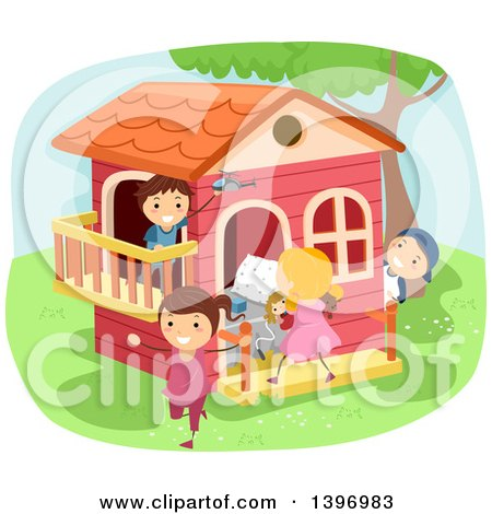 Clipart of a Group of Kids Playing House - Royalty Free Vector Illustration by BNP Design Studio