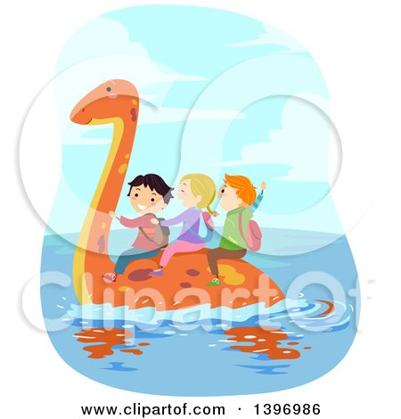 Clipart of a Group of Children Riding on a Swimming Pliosaur Dinosaur - Royalty Free Vector Illustration by BNP Design Studio