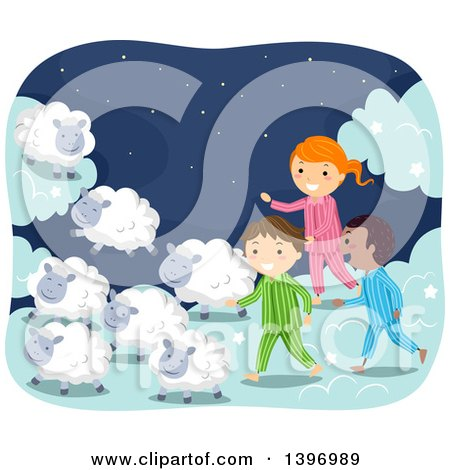 Clipart of a Group of Children in Pjs, Walking with Sheep - Royalty Free Vector Illustration by BNP Design Studio