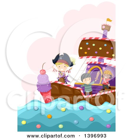 Clipart of a Group of Imaginative Children on a Candy Pirate Ship - Royalty Free Vector Illustration by BNP Design Studio