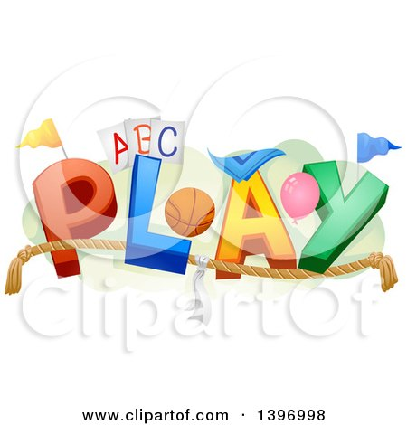 Clipart of the Word Play with Toys and Sports Equipment - Royalty Free Vector Illustration by BNP Design Studio
