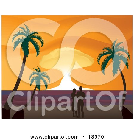 Romantic Couple Watching the Sunset on a Tropical Beach Posters, Art Prints