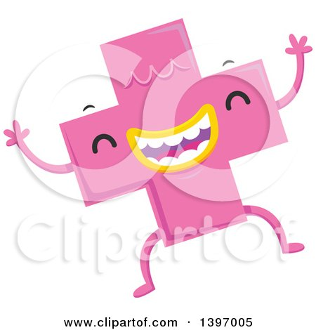 Clipart Of A Dancing Pink Monster Math Addition Symbol Character Royalty Free Vector Illustration