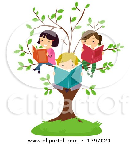 Clipart of a Group of Happy Students Reading Books on Tree Branches - Royalty Free Vector Illustration by BNP Design Studio