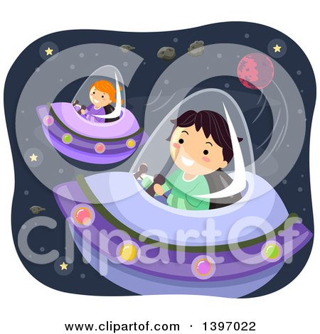 Clipart of Children Flying UFOs in Outer Space - Royalty Free Vector Illustration by BNP Design Studio