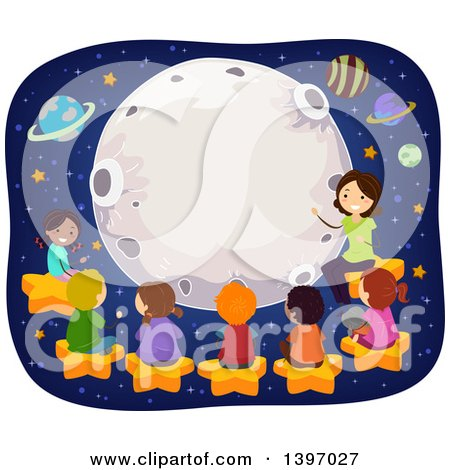 Clipart of a Science Teacher Giving Students a Lesson About Astronomy - Royalty Free Vector Illustration by BNP Design Studio