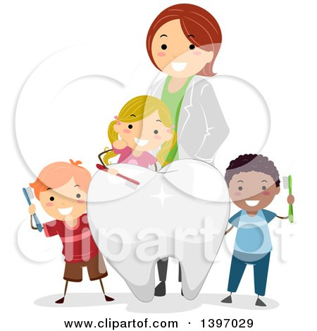 Clipart of a Happy Black Female Dentist and Caucasian Boy ...