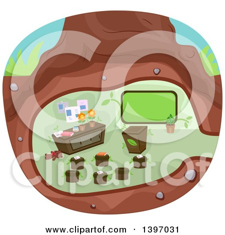 Clipart of a Classroom Under a Tree - Royalty Free Vector Illustration by BNP Design Studio