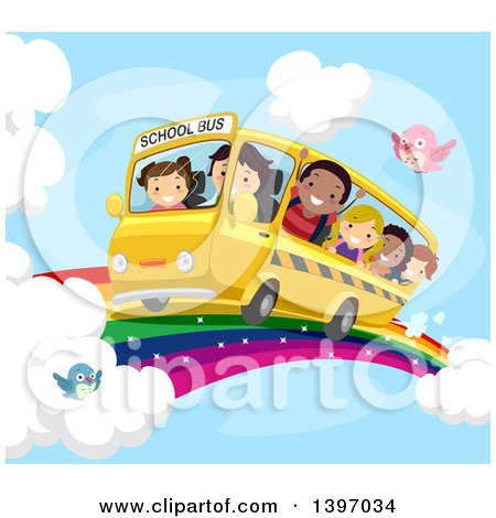 Clipart of a School Bus and Children Riding on a Rainbow in the Sky - Royalty Free Vector Illustration by BNP Design Studio