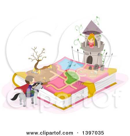 Clipart of a Fairy Tale Book with a Princess in a Tower and Prince on a Steed - Royalty Free Vector Illustration by BNP Design Studio