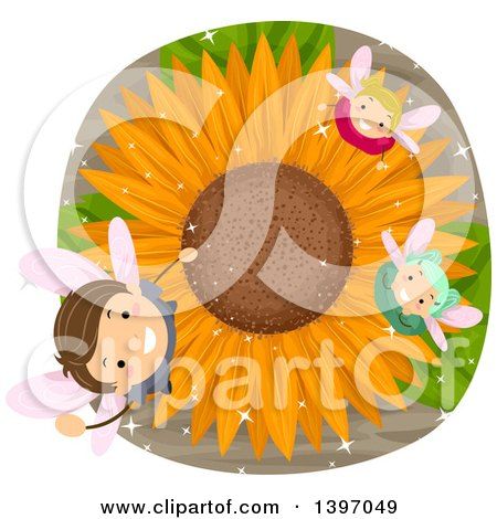 Clipart of a Group of Fairy Children Looking up from a Sunflower - Royalty Free Vector Illustration by BNP Design Studio