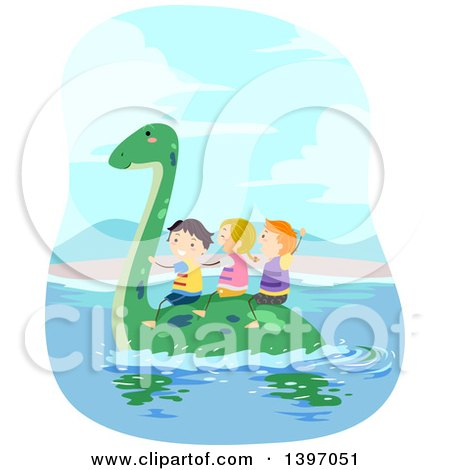 Clipart of a Group of Children Wearing Life Jackets and Riding on a Swimming Pliosaur Dinosaur - Royalty Free Vector Illustration by BNP Design Studio