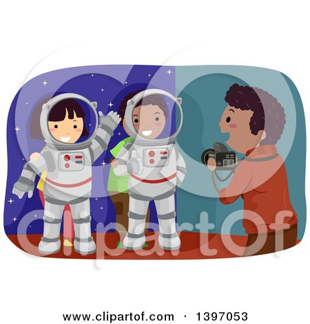 Clipart of a Man Taking Pictures of Kids in an Astronaut Photo Op - Royalty Free Vector Illustration by BNP Design Studio