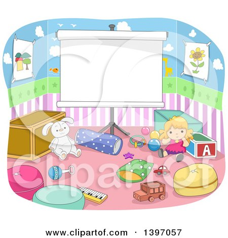 Clipart of a Projection Screen in a Play Room - Royalty Free Vector Illustration by BNP Design Studio