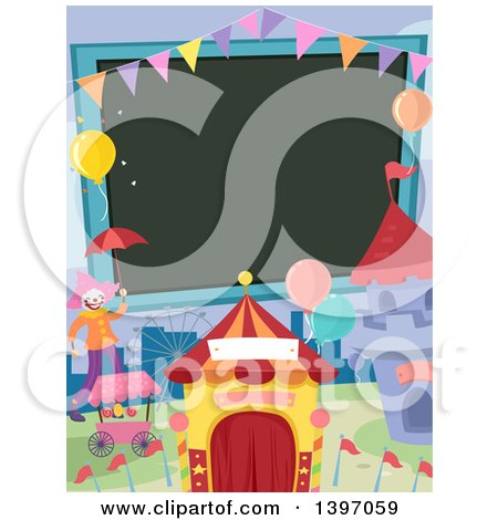 Clipart of a Blank Sign and Carnival Things - Royalty Free Vector Illustration by BNP Design Studio