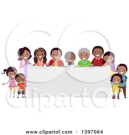 Clipart of a Happy African American Family Around a Banner - Royalty Free Vector Illustration by BNP Design Studio