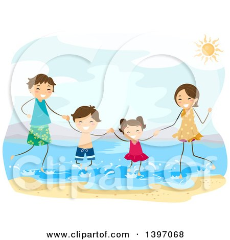 Clipart of a Happy Family Playing at a Beach - Royalty Free Vector Illustration by BNP Design Studio