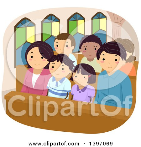 Clipart of a Happy Family at Church Together - Royalty Free Vector Illustration by BNP Design Studio