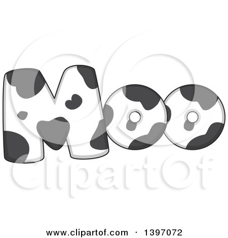 Clipart of a Farm Animal Sound of Moo in a Cow Pattern - Royalty Free Vector Illustration by BNP Design Studio