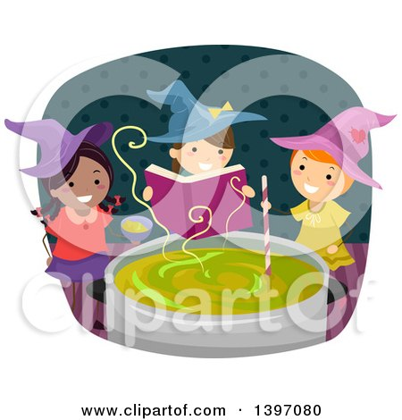Clipart of a Group of Witch Girls Casting a Spell - Royalty Free Vector Illustration by BNP Design Studio