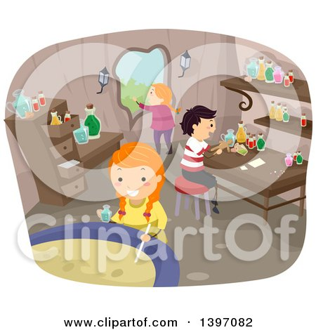 Clipart of a Group of Children Making a Magic Potion - Royalty Free Vector Illustration by BNP Design Studio