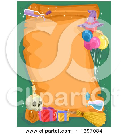 Clipart of a Parchment Scroll with Witchcraft Items on Green - Royalty Free Vector Illustration by BNP Design Studio