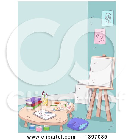 Clipart of a Sketched Art Room Interior - Royalty Free Vector Illustration by BNP Design Studio