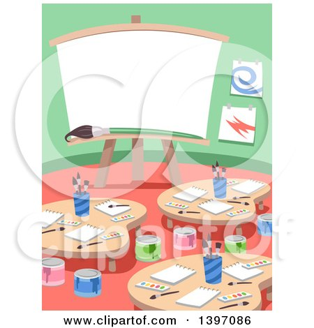 Clipart of an Art Class Room Interior - Royalty Free Vector Illustration by BNP Design Studio