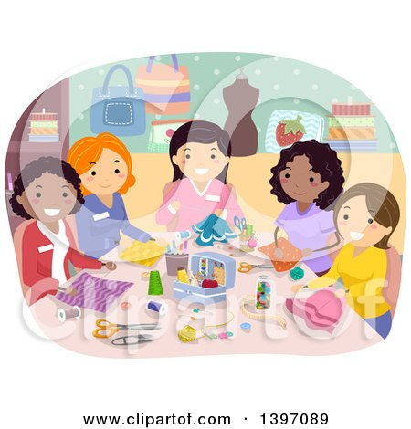 Clipart of a Group of Women in a Sewing Club - Royalty Free Vector Illustration by BNP Design Studio