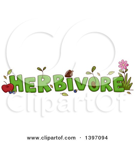 Clipart of a Green Word Herbivore with Fruits and Plants - Royalty Free Vector Illustration by BNP Design Studio