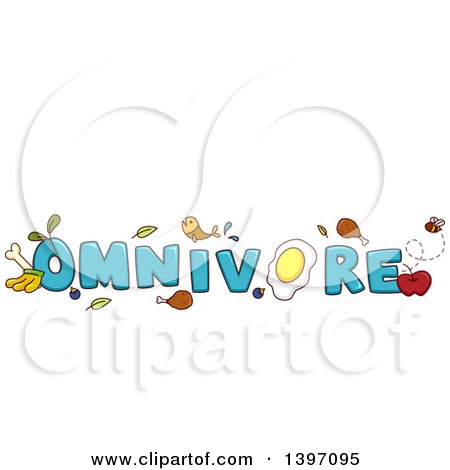 Clipart of a Blue Word Omnivore with Fish, Meat, Eggs, Plants and Fruit - Royalty Free Vector Illustration by BNP Design Studio