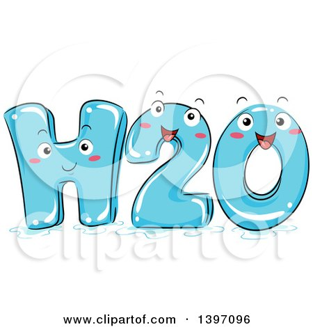 Clipart of a Happy H2o Water Character - Royalty Free Vector Illustration by BNP Design Studio