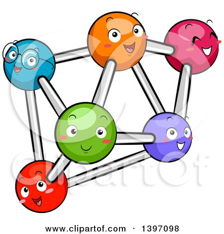 Clipart of a Group of Happy Colorful Atoms - Royalty Free Vector Illustration by BNP Design Studio