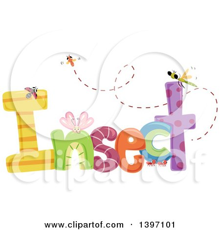 Clipart of a Colorful Insect Word with Bugs - Royalty Free Vector Illustration by BNP Design Studio