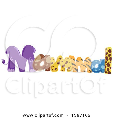 Clipart of a Colorful Mammal Word with Animal Prints - Royalty Free Vector Illustration by BNP Design Studio