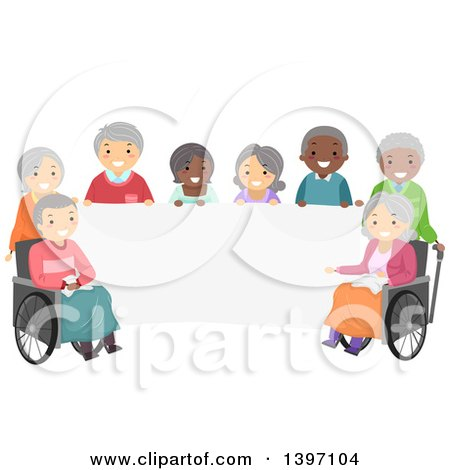 Clipart of a Group of Diverse Senior Citizens Around a Blank Banner - Royalty Free Vector Illustration by BNP Design Studio