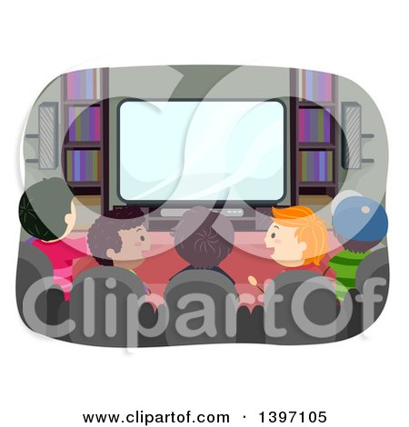 Rear View of a Group of Boys Watching Tv and Talking Posters, Art Prints