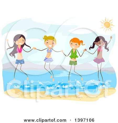 Clipart of a Group of Teenage Girls Holding Hands and Jumping in the Water at the Beach - Royalty Free Vector Illustration by BNP Design Studio