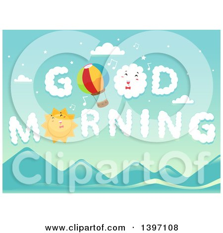 Clipart of a Hot Air Balloon and Sun in the Sky with Good Morning Clouds - Royalty Free Vector Illustration by BNP Design Studio