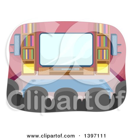 Clipart of a Home Theater Room - Royalty Free Vector Illustration by BNP Design Studio