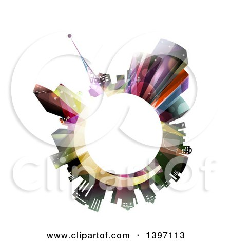 Clipart Of A White Globe Encircled With City Lights And Buildings Royalty Free Vector Illustration