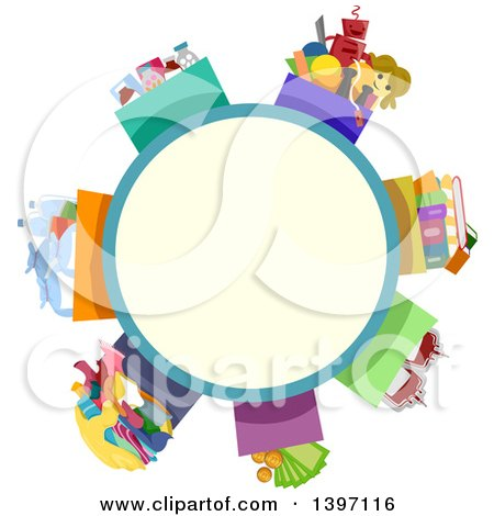 Clipart of a Circle Label with Boxes of Donations - Royalty Free Vector Illustration by BNP Design Studio