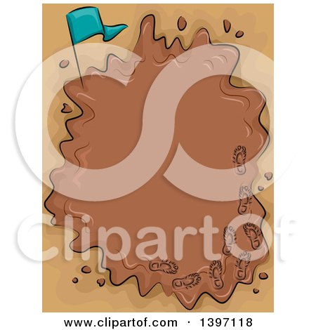 Frame of a Puddle of Mud with a Flag and Foot Prints Posters, Art Prints