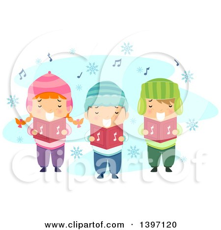 Clipart of a Group of Children Singing Christmas Carols - Royalty Free Vector Illustration by BNP Design Studio