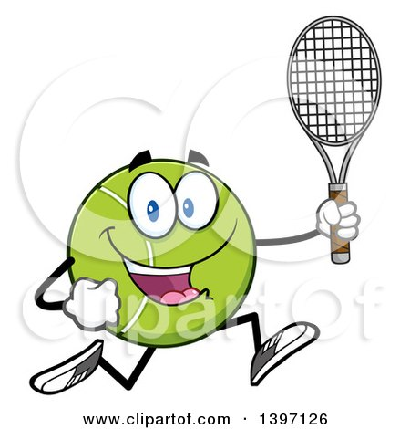 Clipart of a Cartoon Happy Tennis Ball Character Mascot Running with a Racket - Royalty Free Vector Illustration by Hit Toon