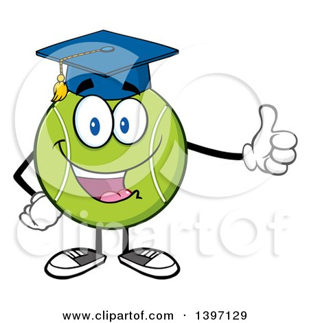 Clipart of a Cartoon Happy Tennis Ball Character Mascot Graduate Giving a Thumb up - Royalty Free Vector Illustration by Hit Toon