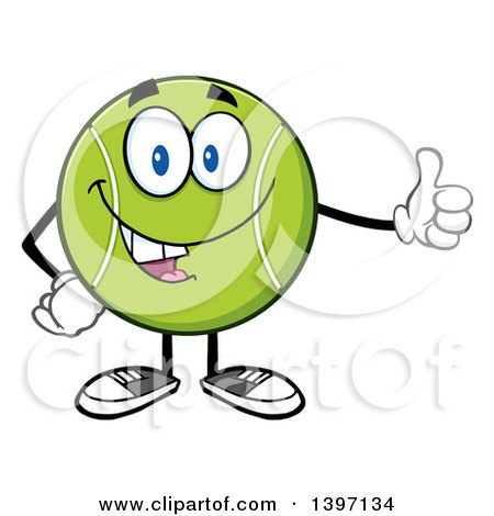 Clipart of a Cartoon Happy Tennis Ball Character Mascot Giving a Thumb up - Royalty Free Vector Illustration by Hit Toon